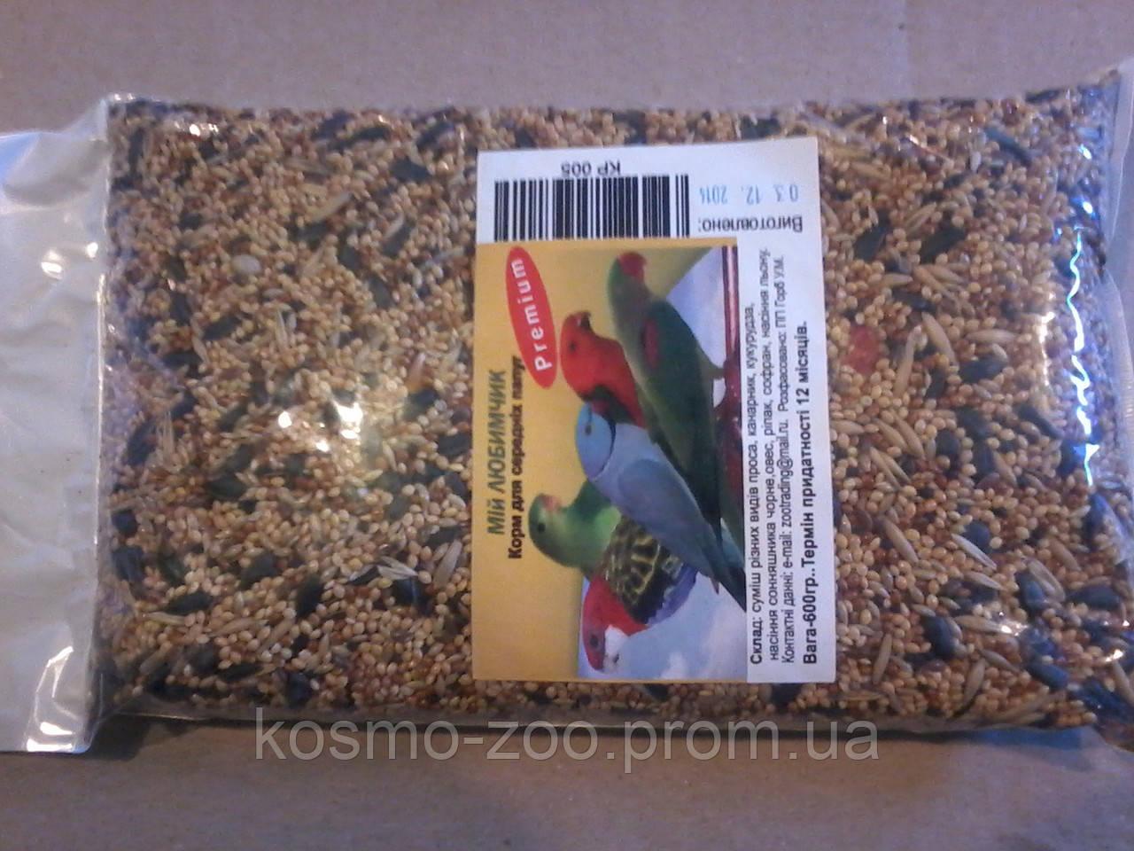 Корм для средних попугаев, Мой Любимчик Премиум, 600 гр