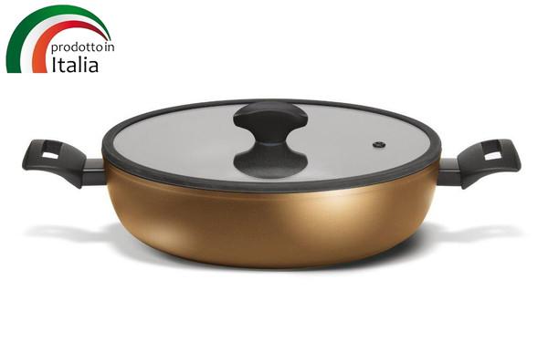 Сковорода TVS TENACE INDUCTION сотейник с двумя ручками 24 см с крышкой (DT474243710001C)