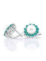 Сережки срібні з агатом і перлами Е-343