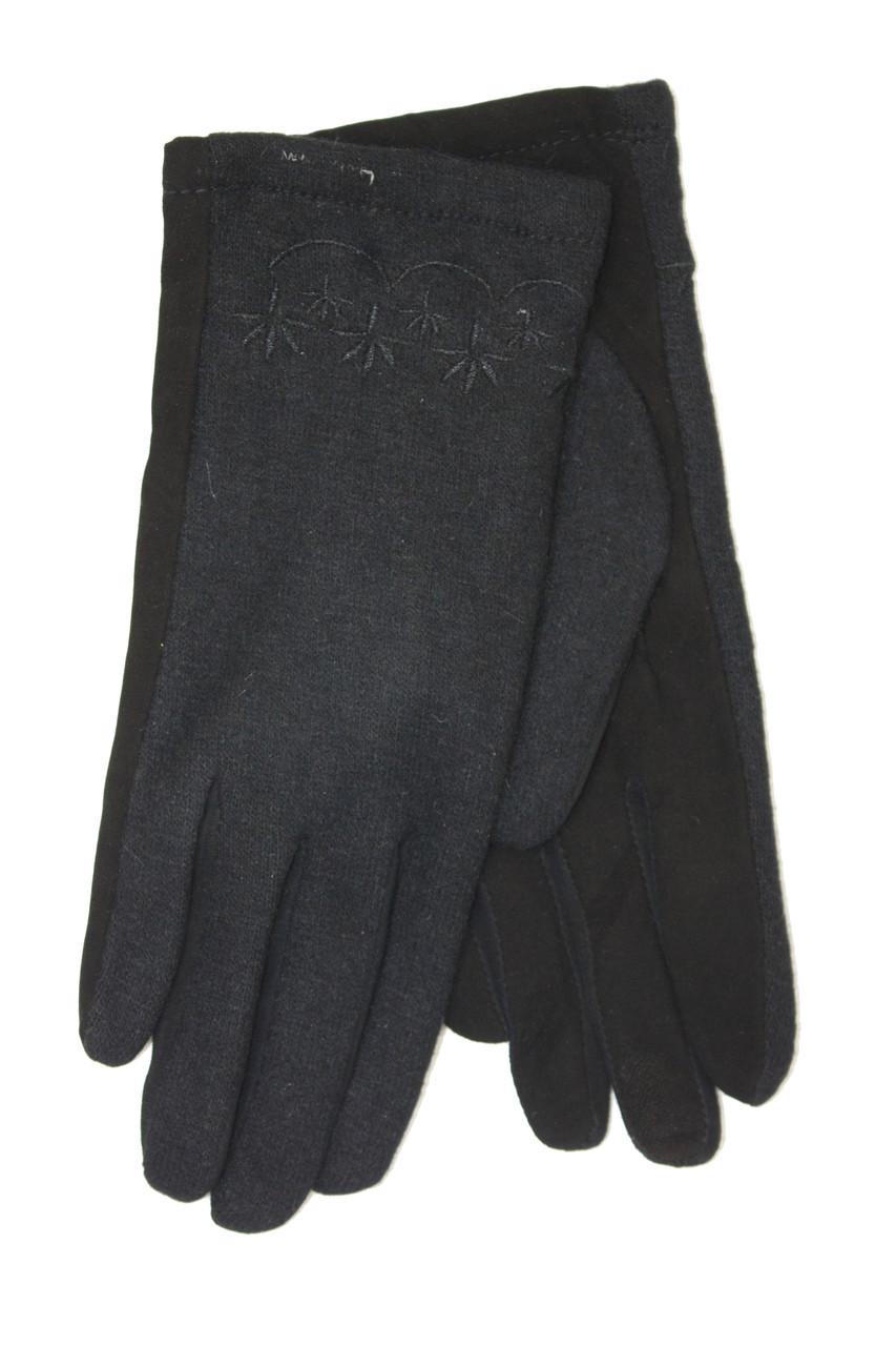 Женские перчатки комбинированные Замша и кашемир Средние