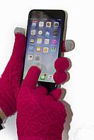 Женские сенсорные перчатки Вязка Малиновые, фото 1