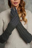 Женские перчатки стрейч  длинные+митенка Серые, фото 1
