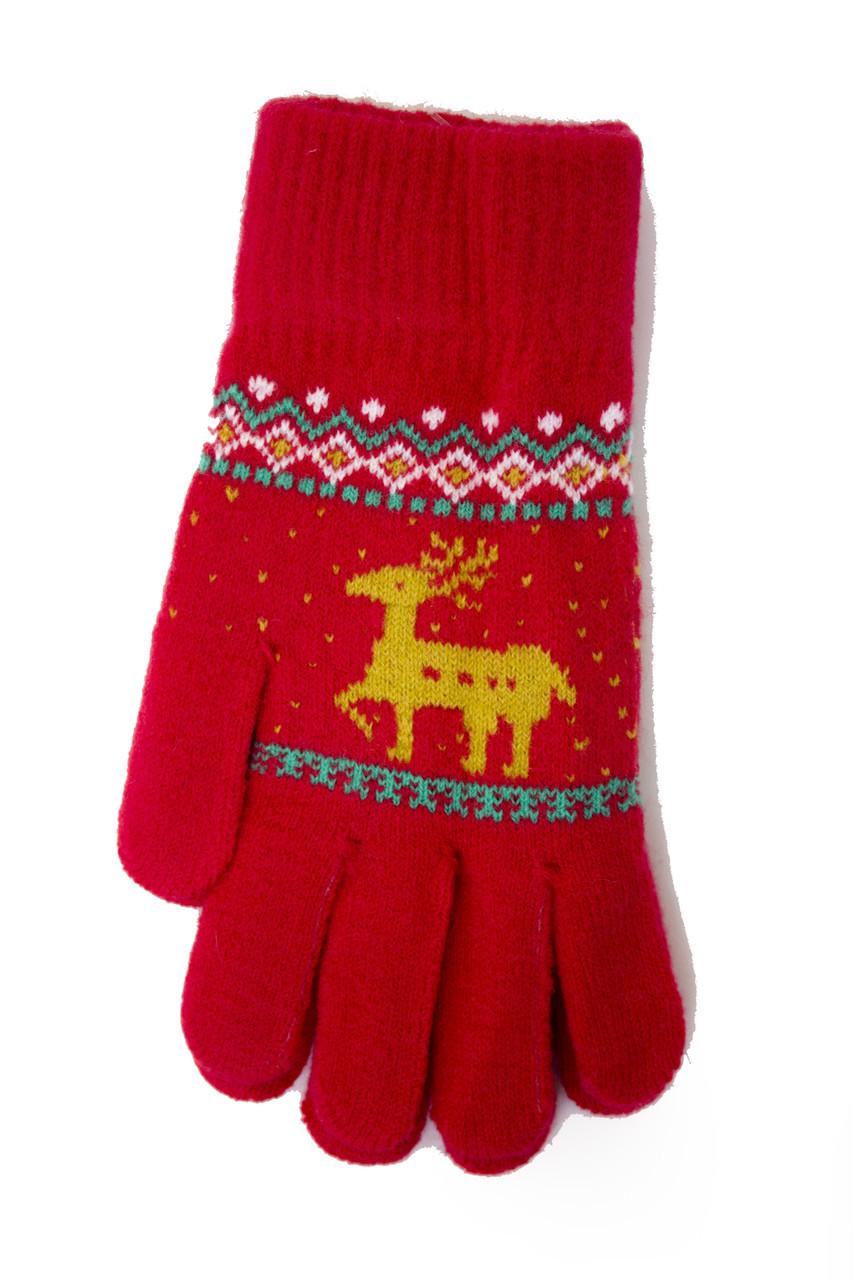 Трикотажные перчатки вязаные 5610-4 красные