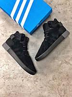 Мужские зимние кроссовки Adidas Tubular Invader Strap Black (Реплика Люкс)