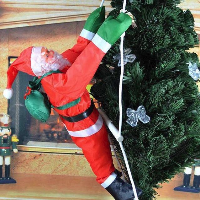 Новогодняя фигура Деда Мороза на лестнице 60 см