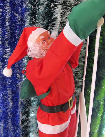 Новогодняя фигура Деда Мороза на лестнице 60 см, фото 2