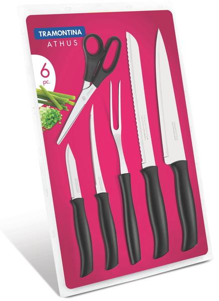 Наборы ножей TRAMONTINA ATHUS black 6пр (4ножа,ножн, вилка д/мяса) блист (23099/090)