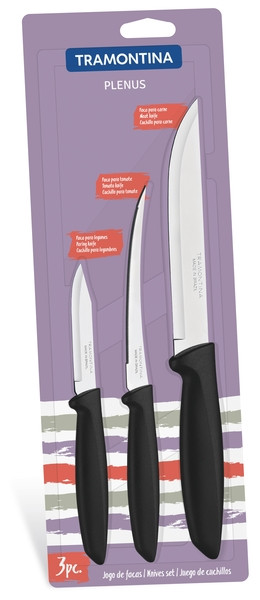 Наборы ножей TRAMONTINA PLENUS black н-р ножей 3пр (том,овощ,д/мяса) инд.бл (23498/013)