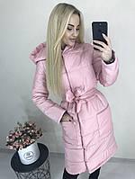 Длинная куртка с поясом и капюшоном