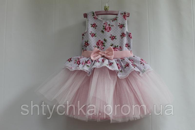 """Нарядное платье на девочку """"Декор прованса"""" с светло розовым фатином"""