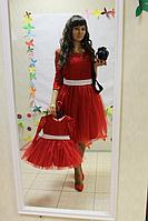 """Нарядные платья на маму и доченьку """" Гипюровое настроение в красном цвете с рукавами"""""""