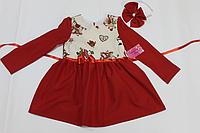 Повседневно - нарядное новогоднее платье на девочку с рукавами и красным низом