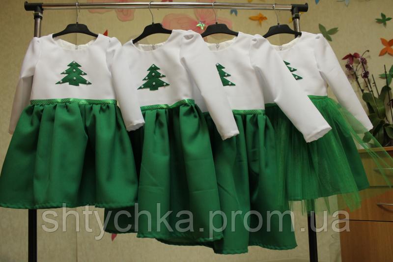 """Повседневно - нарядное платье на девочку """"Зеленая елочка"""" ."""