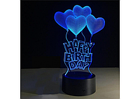 3D светильник 1115 (Happy Birth day), фото 1