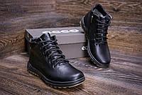 Мужские зимние кожаные ботинки Ессоblack New Line (реплика)