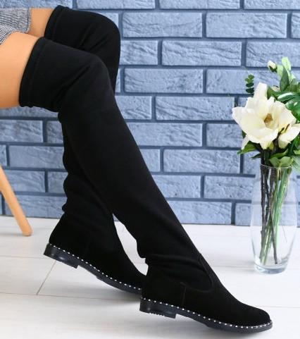 ffcfde7d4 Модные высокие ботфорты чулки зимние сапоги женские замшевые на низком ходу  черные С41KU26-1IЕ
