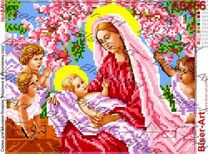 Схема Вышивки Бисером на Габардине Мадонна З Немовлям Та Ангелами ... eb1be8dbf9860