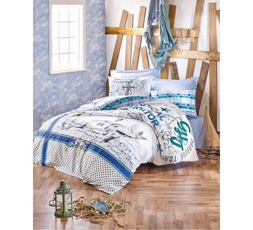 Постельное белье Cotton Box MARİTİME VIRA YESIL двуспальный - евро, фото 2