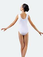 Белый детский купальник для гимнастики