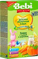 """Bebi Premium. Молочная каша """"Злаки с тыквой и морковью""""6 мес + 200 г  (3838471034555)"""