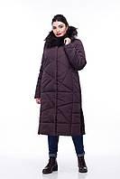 Зимнее стеганое пальто ORIGA Дакота енот 56 Темно-коричневый (Or-P-En-000080)