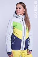 Горнолыжная куртка женская Avecs 8689 зеленый с желтым