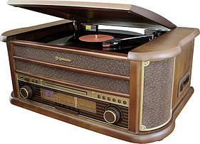 Деревянный Грамофон Проигрыватель Roadstar HIF-1893 TUMK Радио CD USB Mp3  + Пульт