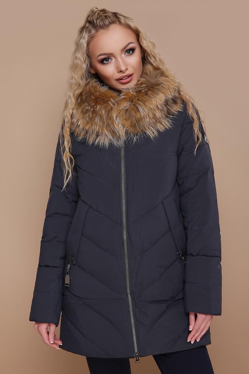 Женская синяя куртка с меховой опушкой 18-182