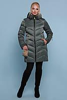 Женская блестящая куртка цвета хаки 18-71