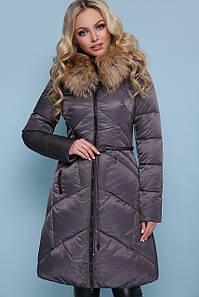 Женская приталенная куртка с мехом на капюшоне 18-86 В НАЛИЧИИ ТОЛЬКО S М