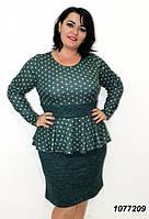 Платье батал с баской, ткань ангора меланж, повседневное батальное платье. Размеры 48, 50, 52, 54, 56.