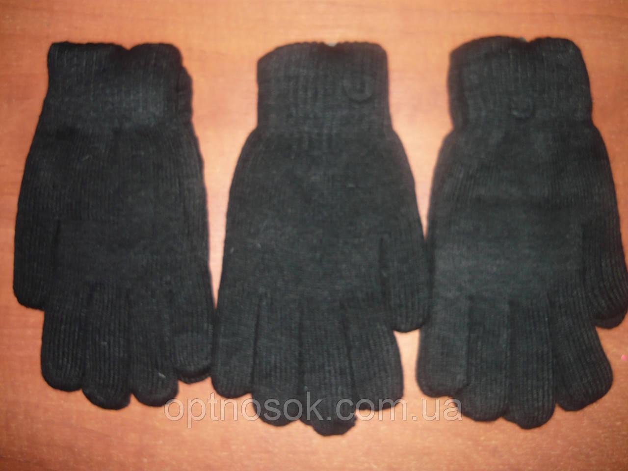 Мужские перчатки на начёсе Корона. Двойные. Чёрные. р. XXL