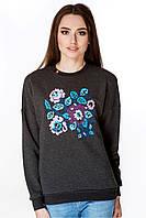 Женский свитшотс цветочной вышивкой серого цвета, фото 1