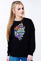 Стильный женский свитшотс цветочной вышивкой черного цвета, фото 1