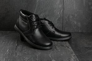 Мужские ботинки кожаные зимние черные Yuves 801