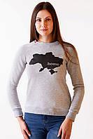 Женский свитшот в патриотичном стиле серого цвета «Home» , фото 1