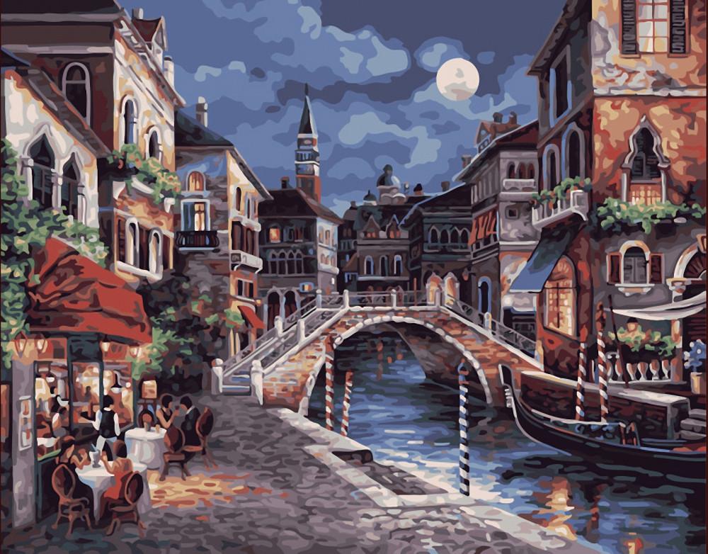 """Картина по номерам """"Улицы ночной Венеции"""", 40x50 см., Brushme"""