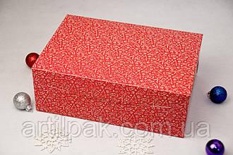 Коробка  255*180*90 для 6 кексів без вікна Новорічна Червона