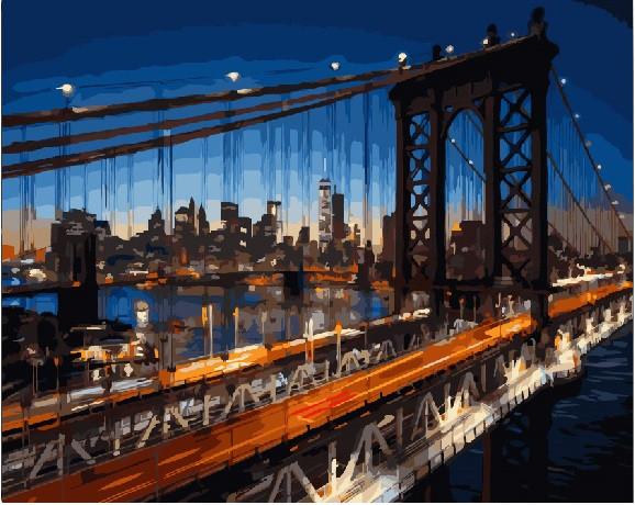 "Картина по номерам ""Мост в Бруклин"", 40x50 см., Brushme"