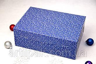 Коробка  255*180*90 для 6 кексів без вікна Новорічна Синя