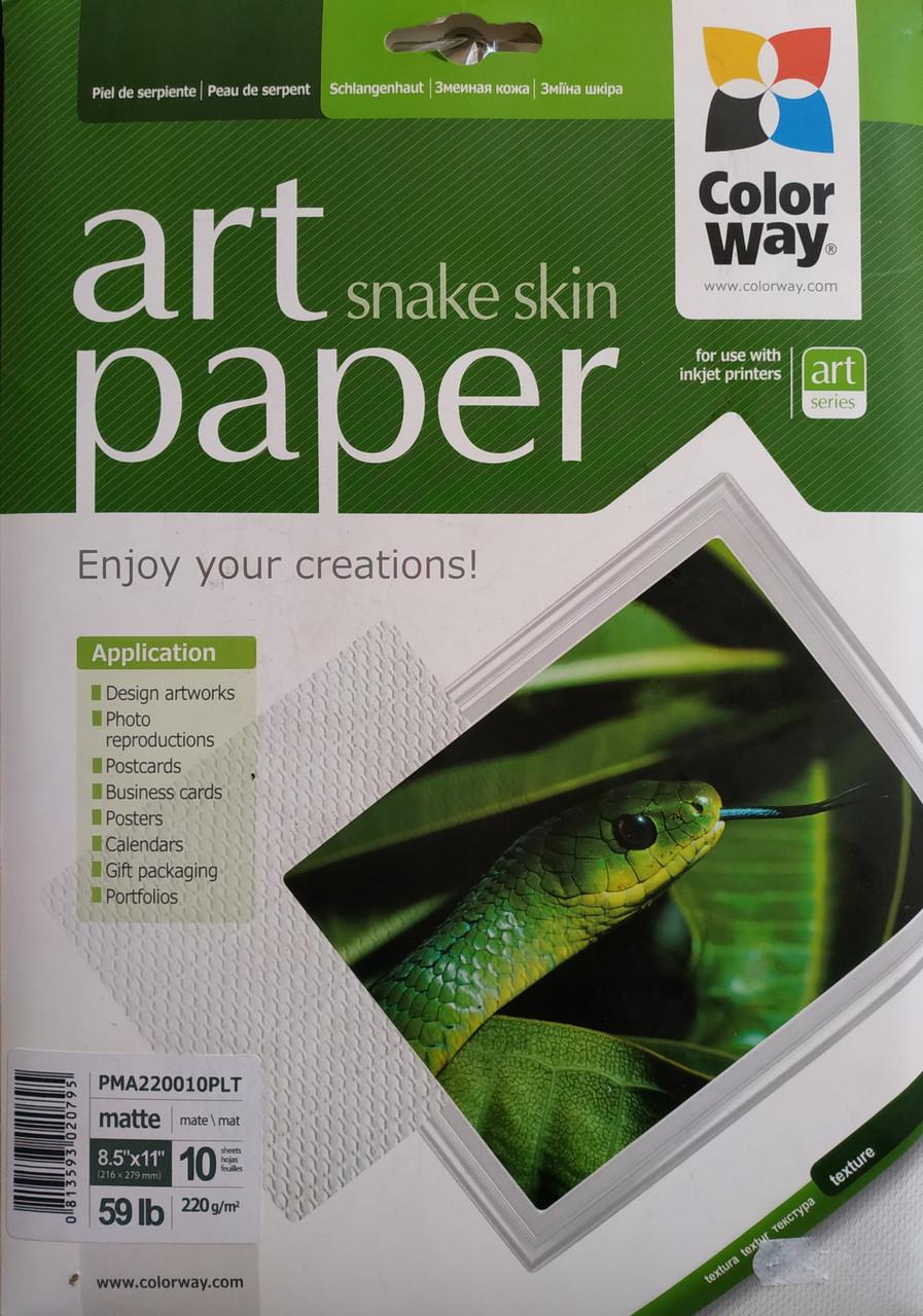 Фотобумага ColorWay А4 матовая, 220 г/м2, 10 л, кожа змеи