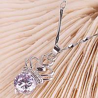 Женское позолоченное ожерелье, белое золото 14 К, цепочка с кулоном Корона, украшенным сиреневым цирконом