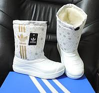 """Детские дутыши """"Adidas"""". Утепленные мехом сапожки зимние демары, сноубутсы."""