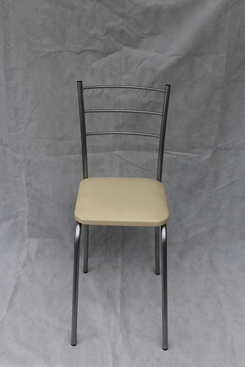 Кухонный стул Марко chrome с белой сидушкой экокожа