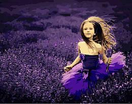 Картина по номерам Девочка на лавандовом поле, 40x50 см., Brushme