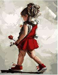 Картина по номерам Девочка с розой, 40x50 см., Brushme