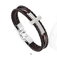 """Браслет """"Крест"""" 3-х слойный коричневый, кожа, фото 1"""