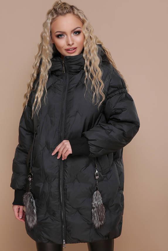 Куртка женская зимняя с капюшоном оверсайз черная, фото 2