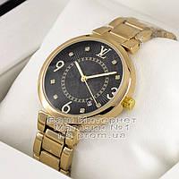 Женские наручные часы Louis Vuitton Quartz Gold Black Dimond Луи Виттон качественная люкс реплика