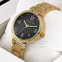 Женские наручные часы Louis Vuitton Quartz Gold Black Луи Виттон премиум реплика, фото 1